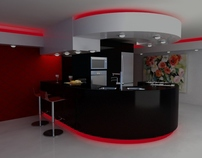3D+Vray and Rendering_Modern Kitchen Design