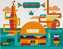 Junk fast Food illustrations infographics editorial