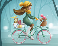 Girl riding a bicycle with bunny and gifts