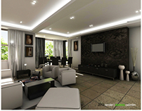 White Accent Interior-Living & Dining