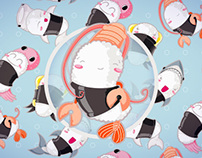 Pattern & Character design: Sushi