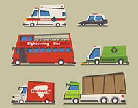 Transportation Flat Vector Illustration