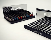 Revlon design elements to organize products on display