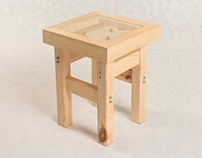 Wooden stool with ballance game