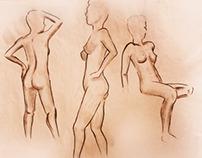 10 minutes live model sketches