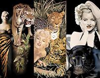 Marilyn Monroe with Cats - digital art by K. Fairbanks