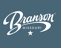 Hand lettered logo for Branson Missouri