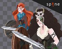 Viking Girl 2D Skeletal Animation
