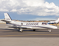 A Cessna 550 Citation II in the runway