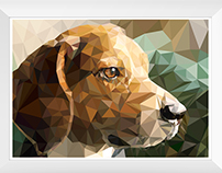 Low poly art of doggy