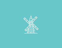 Line-art logos/icons.