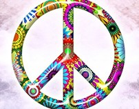 Retro Flowers Peace Sign - Metal Print and T-Shirt