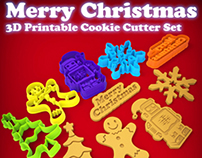 Merry Christmas - 3D Printable Cookie Cutter Set