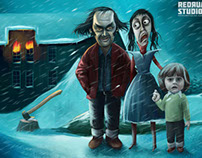 Christmas card illustration for Redrum Studios