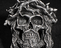 Crown Of Thorns Skull Ring Details