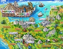 Mayan Mexico Map Illustration
