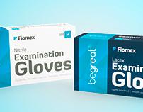 Examination Gloves (nitrile & latex) - packaging design