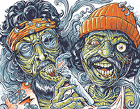 Cheech and Chong Zombies T-Shirt Illustration