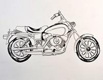 Motorbike screen prints.