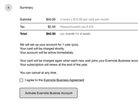 Evernote Business Sign-up Flow