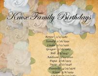 Knox Family Birthday Calendar