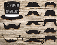 12 Awesome Moustaches Pack
