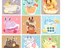 Eevee & eveelutions on sweets!