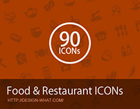 90 Food & Restaurant ICONs