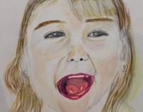Portrait d'une gamine à l'aquarelle