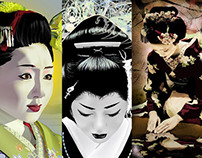 Geisha digital portraits by K. Fairbanks