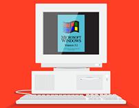 90s Computer Flat Design