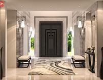 Modern villa's entrance  con creative office