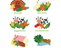Toddler's Meal Illustrations for Bloom Foods