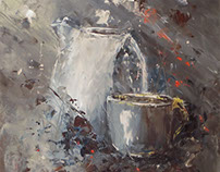 Palette knife painting, still life painting