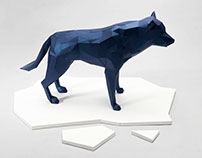 A Papercraft Model of a Wolf