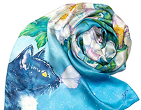 Hand painted silk scarf Peonies and Cat with butterfly