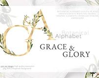 Grace&Glory Botanical Alphabet Olive