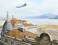 Hindenburg sobrevoando Santos