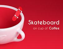 Skateboard on cup of Coffee | Loop Video
