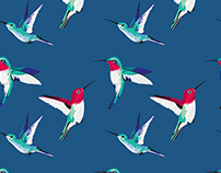 Fabric pattern #2 — hummingbirds
