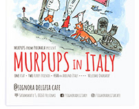 """Murpups in Italy"" comic art exhibition poster."