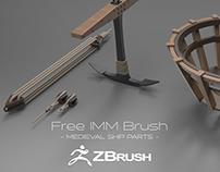 FREE ZBrush IMM Brush - medieval ship parts