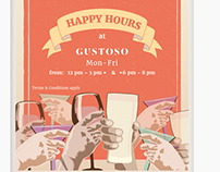 Poster Design, Illustrations - Gustoso Happy Hours