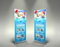 Swimming Signage Roll Up Banner Template