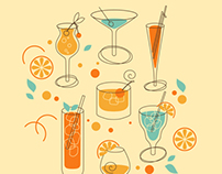 Set of Cocktail and Pattern in retro-styled
