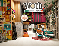 Wom Cafe Restaurant Corporate Identity -Interior Design