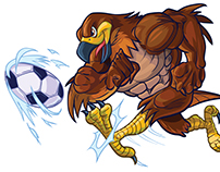 Vector Cartoon Hawk Mascot Kicking Soccer Ball