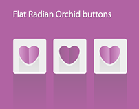 Flat Radiant Orchid heart buttons with centered shadow