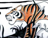 Shere Khan lies in wait for young Mowgli