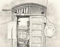 Beijing Door and Hanging Laundry